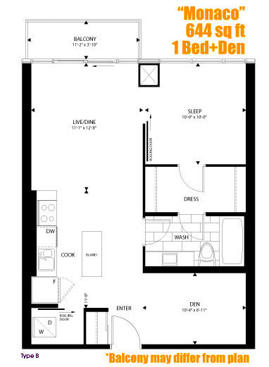 Boutique condos one plus den high floor for sale for 126 simcoe floor plan