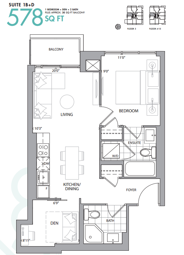 609 AVENUE ROAD CONDOS - FLOORPLANS ONE PLUS DEN - CONTACT YOSSI KAPLAN