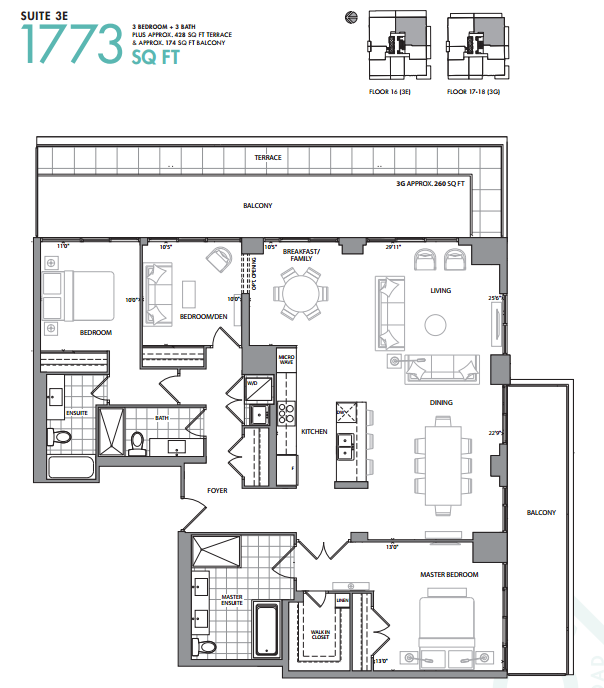 609 AVENUE ROAD CONDOS - FLOORPLANS THREE BEDROOM - CONTACT YOSSI KAPLAN