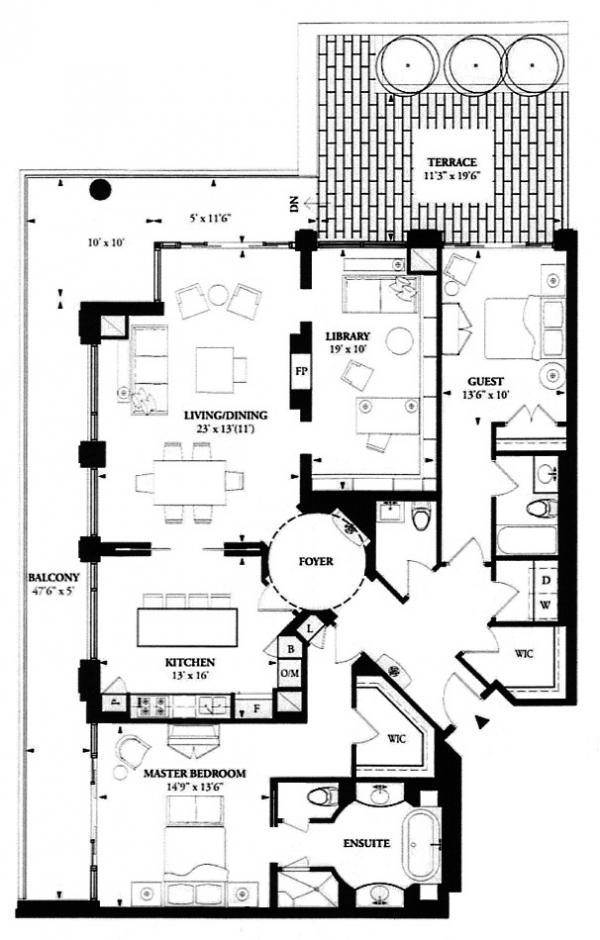 100 YORKVILLE CONDOS - FLOORPLAN TWO BEDROOM