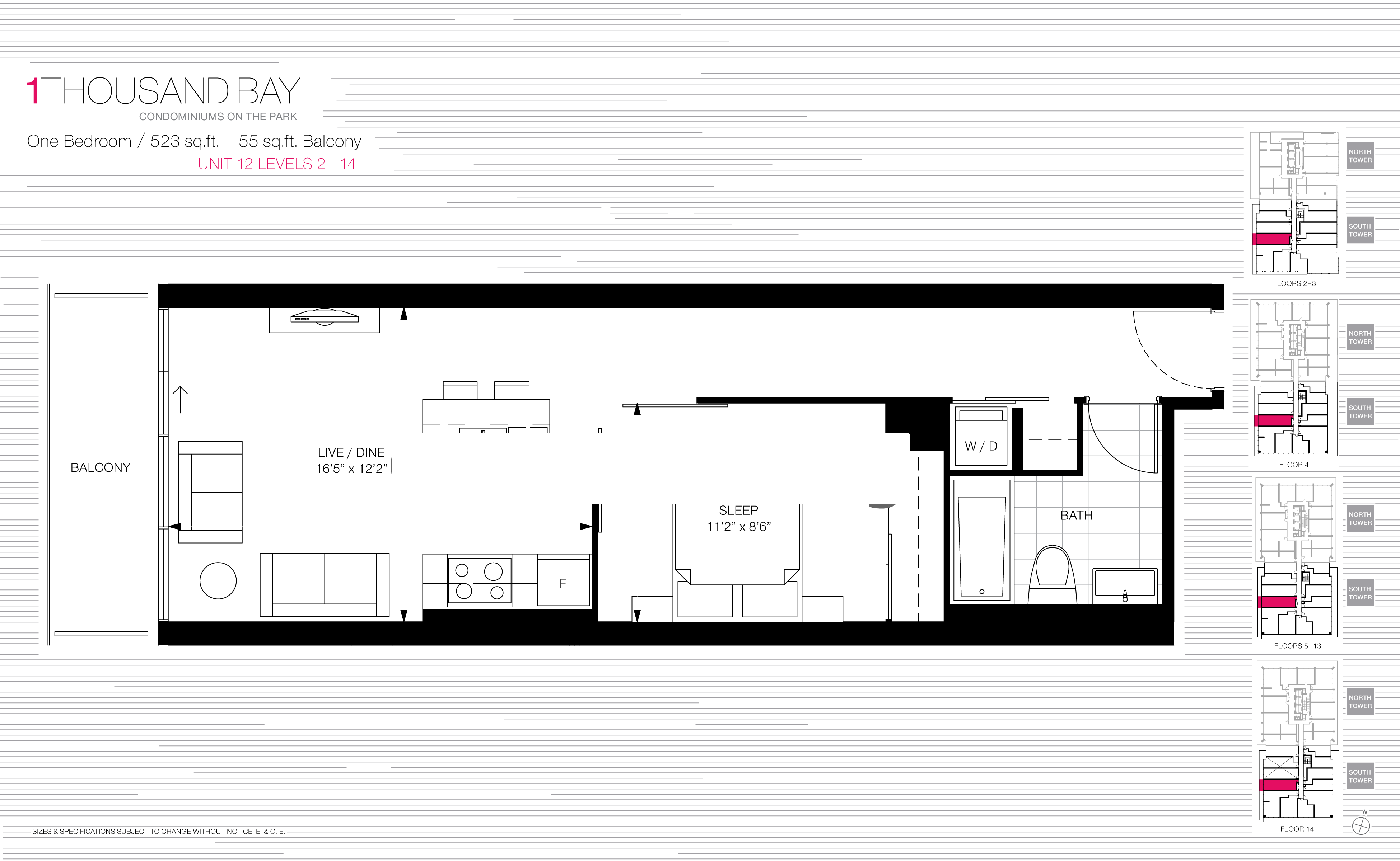 1000 BAY FLOORPLANS - ONE BED SUITE 523 SQ FT - CONTACT YOSSI KAPLAN