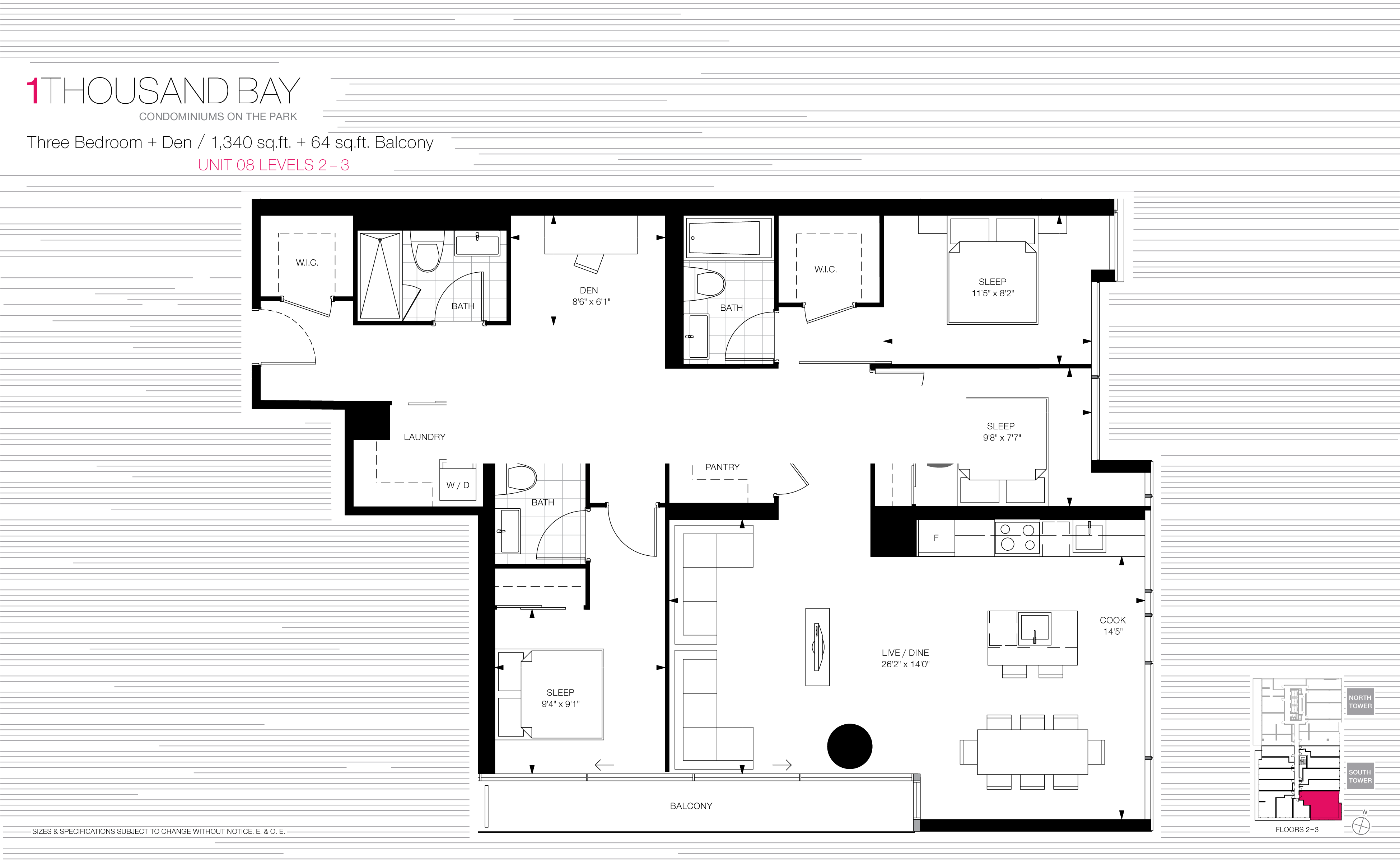 1000 BAY FLOORPLANS - THREE BED SUITE 1340 SQ FT - CONTACT YOSSI KAPLAN