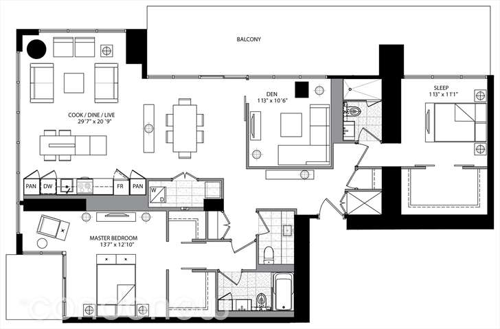 FIVE CONDOS -5 ST JOSEPH ST - FLOORPLAN PENTHOUSE TOWERSUITES - CONTACT YOSSI KAPLAN