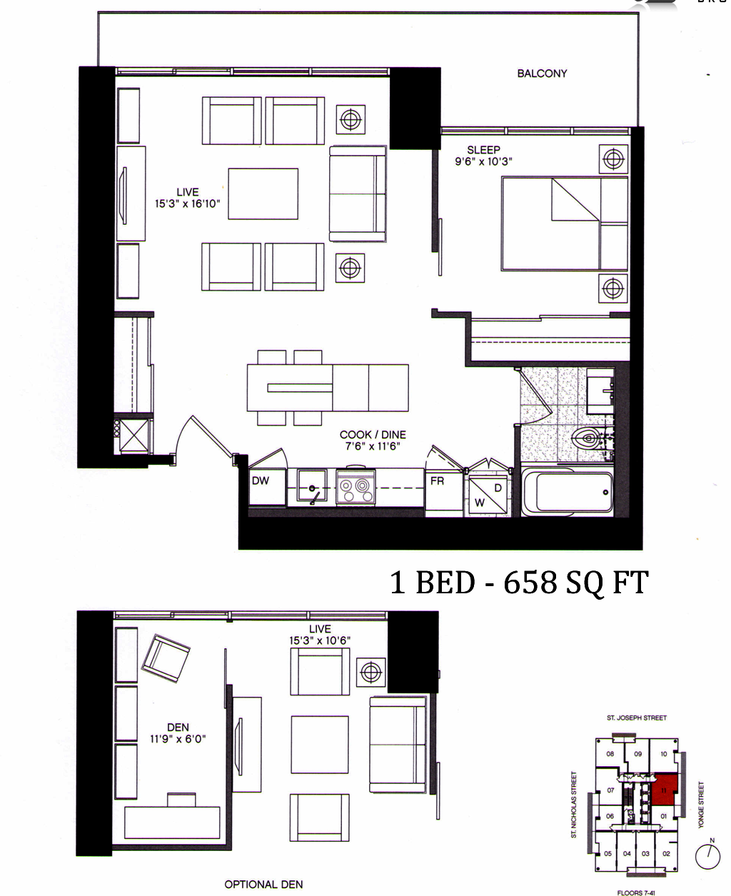 5 ST JOSEPH - FLOORPLAN 658 SQ FT - CONTACT YOSS KAPLAN