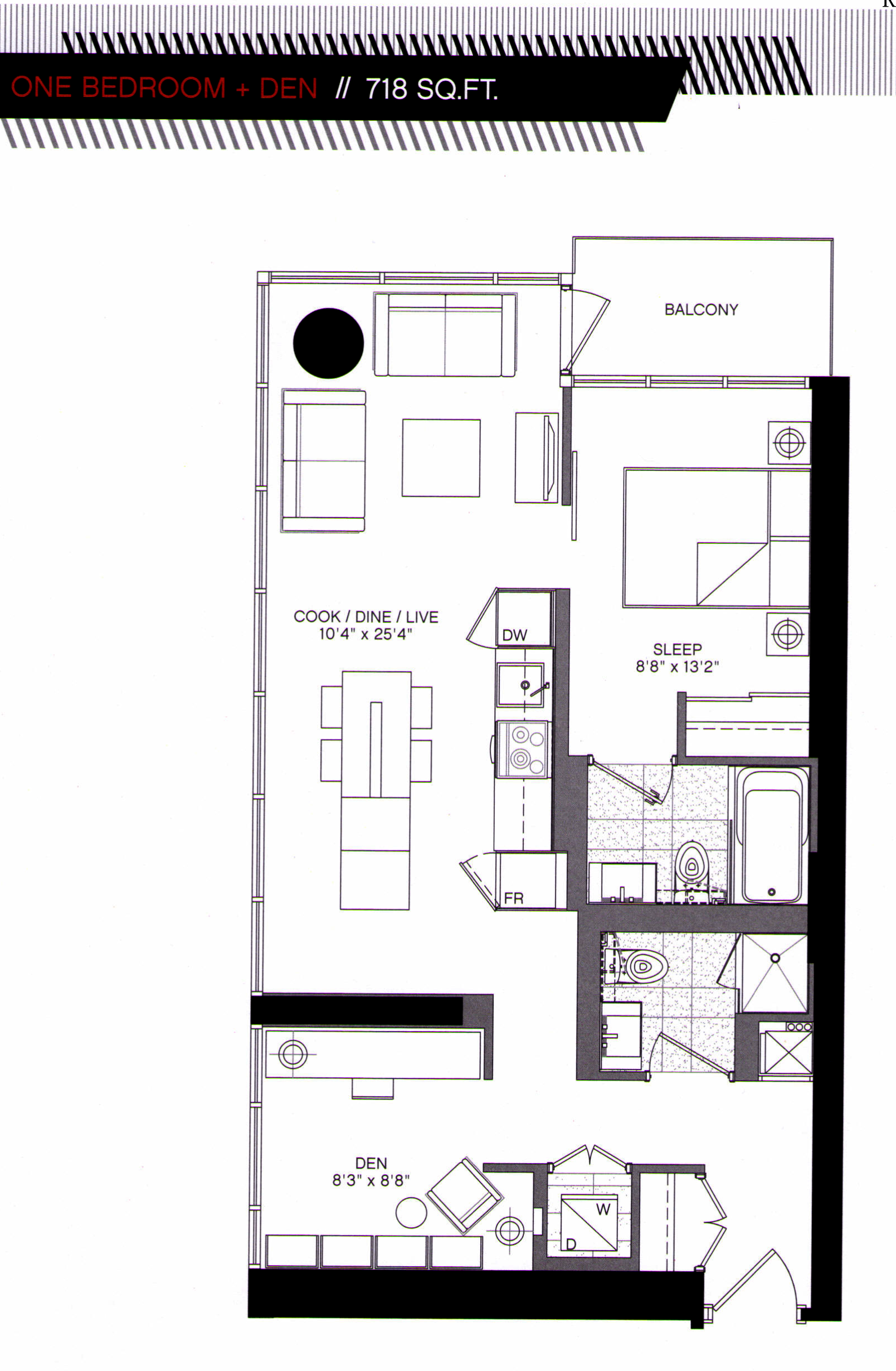 5 ST JOSEPH - FLOORPLAN ONE PLUS DEN 718 SQ FT - CONTACT YOSS KAPLAN