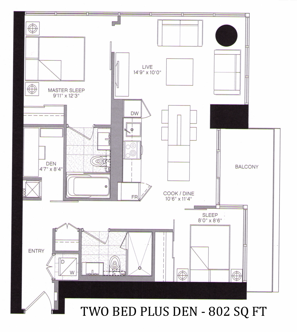 5 ST JOSEPH - FLOORPLAN TWO BED 802 SQ FT - CONTACT YOSS KAPLAN