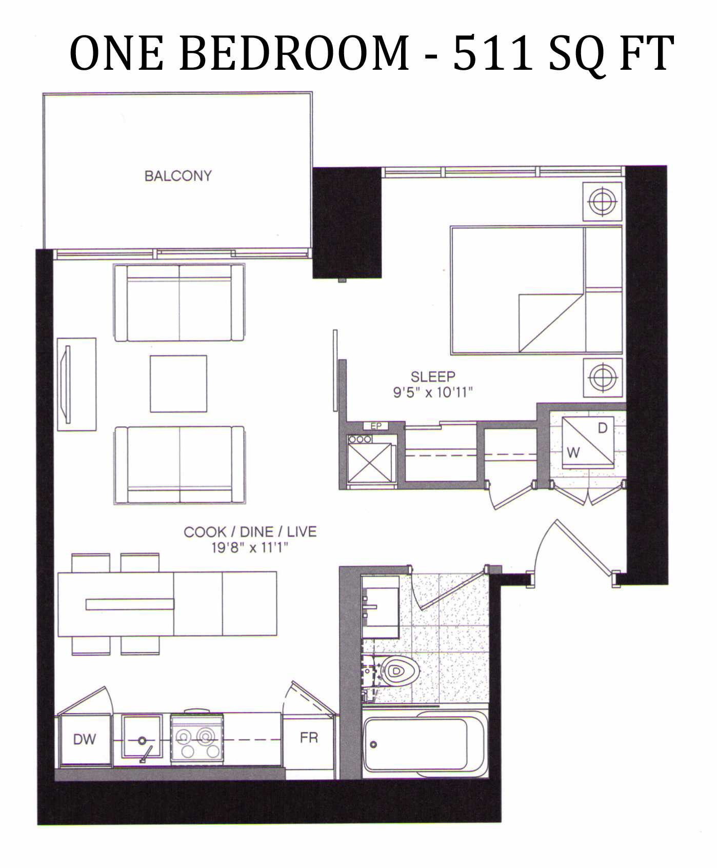 5 ST JOSEPH ST - FLOORPLANS ONE BED 511 SQ FT - CONTACT YOSSI KAPLAN