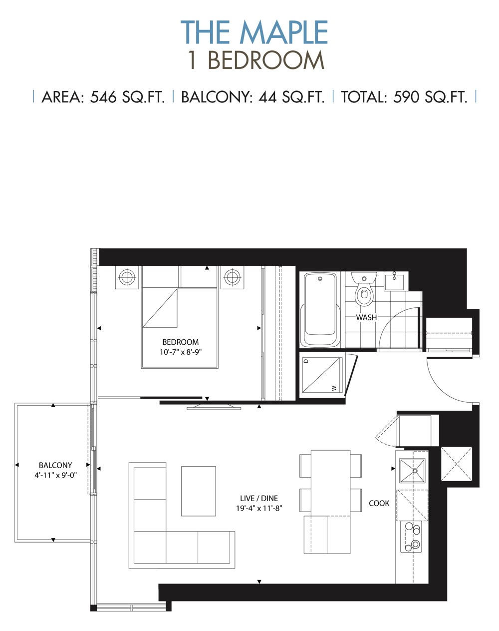 NICHOLAS CONDOS - FLOORPLANS ONE BED 590 SQ FEET - CONTACT YOSSI KAPLAN