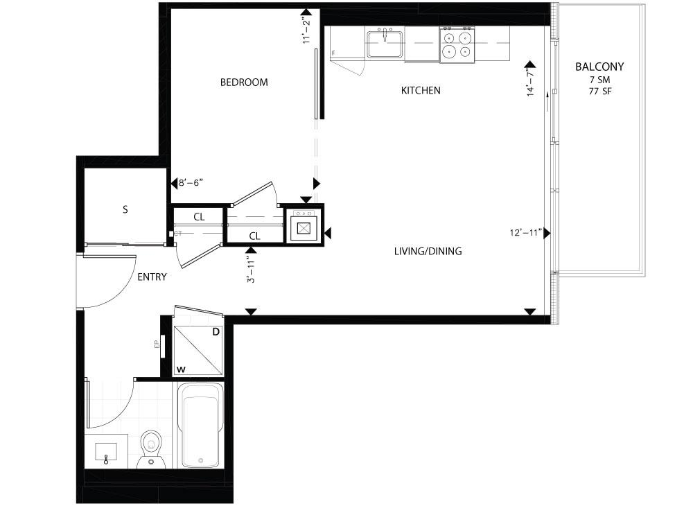 THE COLLEGE CONDOS - FLOORPLANS ONE BED 548 SQ FT - CONTACT YOSSI KAPLAN