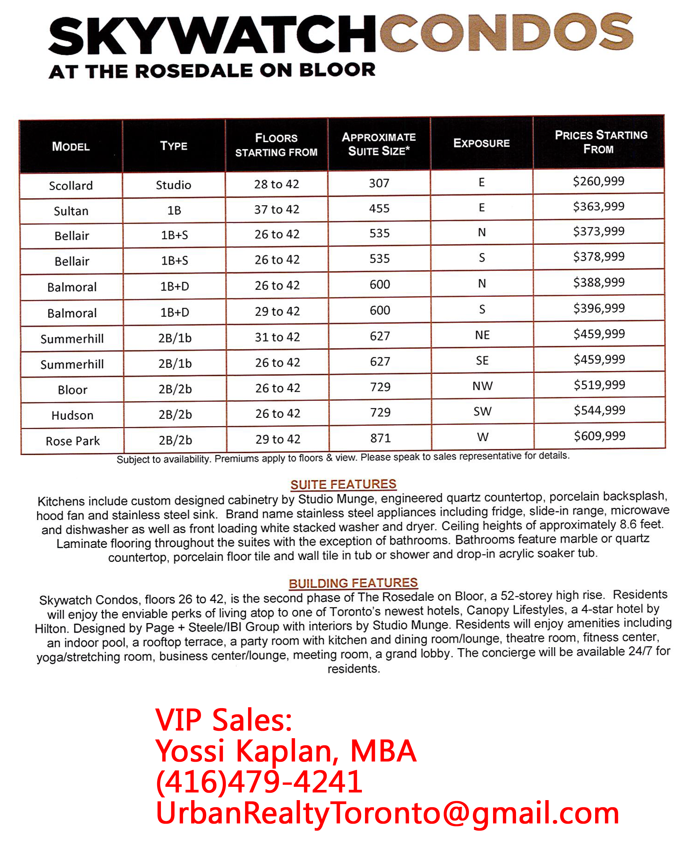 ROSEDALE VIP PRICES CONTACT YOSSI KAPLAN