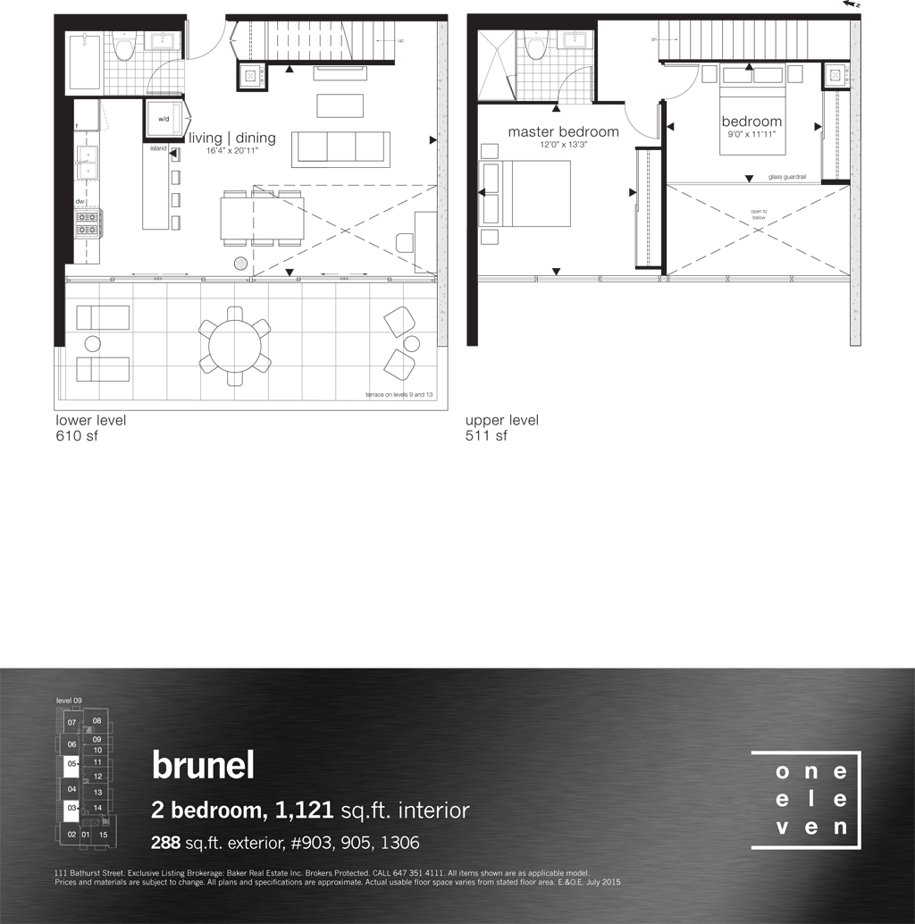 111 BATHURST - FLOORPLANS TWO BEDROOM 1,121 SQ FT - CONTACT YOSSI KAPLAN