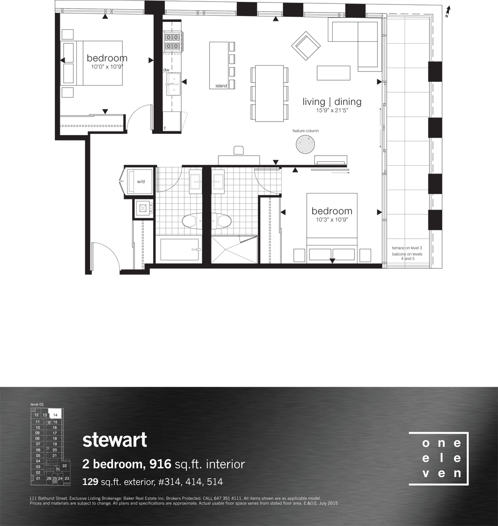 111 BATHURST - FLOORPLANS TWO BEDROOM 916 SQ FT - CONTACT YOSSI KAPLAN