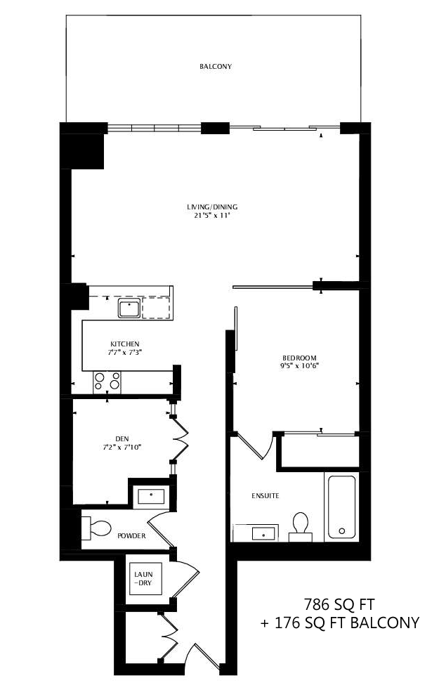 55 FRONT ST E - FLOORPLANS ONE PLUS DEN 786 SQ FT - CONTACT YOSSI KAPLAN