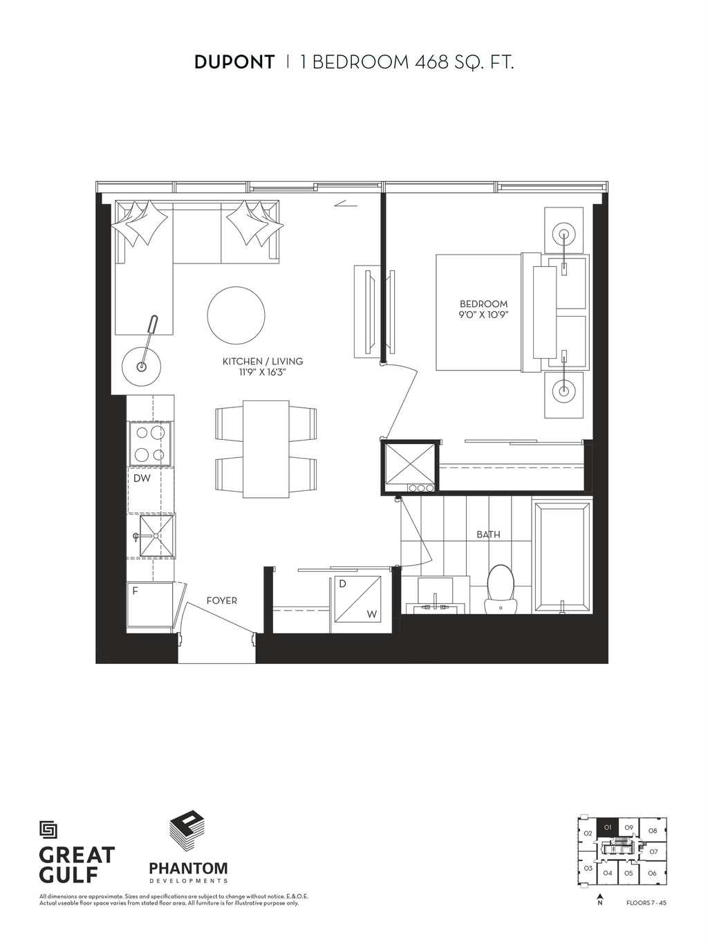 8 CUMBERLAND VIP ACCESS - FLOORPLANS ONE BEDROOM 468 SQ FT
