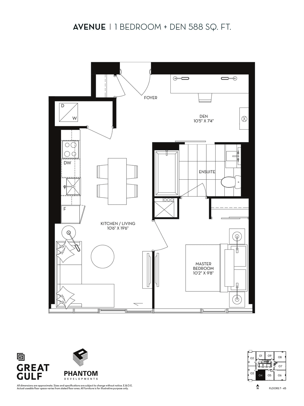 8 CUMBERLAND VIP ACCESS - FLOORPLANS ONE BEDROOM 588 SQ FT