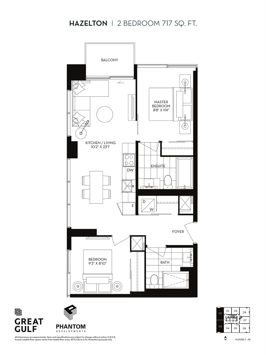 8 CUMBERLAND VIP ACCESS - FLOORPLANS TWO BEDROOM 717 SQ FT