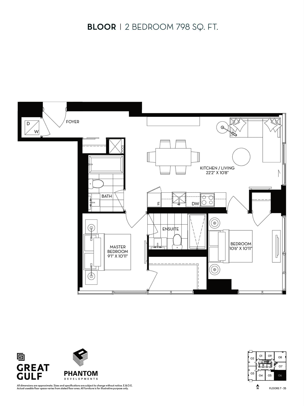 8 CUMBERLAND VIP ACCESS - FLOORPLANS TWO BEDROOM 798 SQ FT