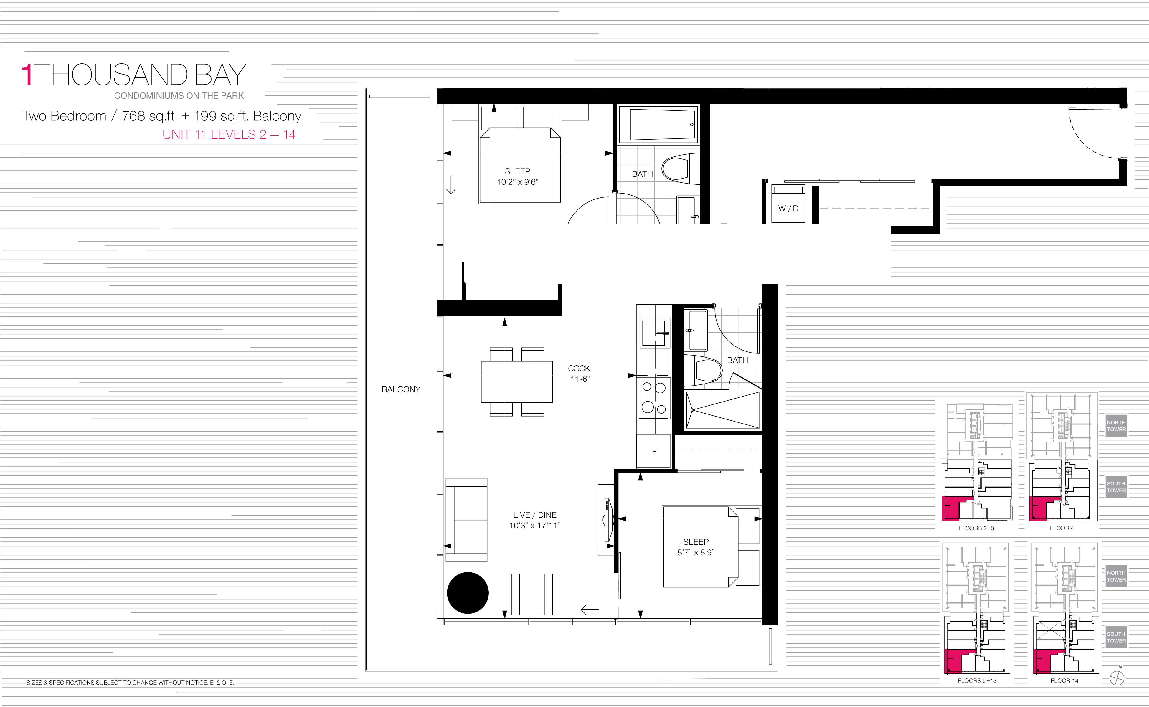 1000 BAY FLOORPLANS - TWO BED SUITE 768 SQ FT - CONTACT YOSSI KAPLAN
