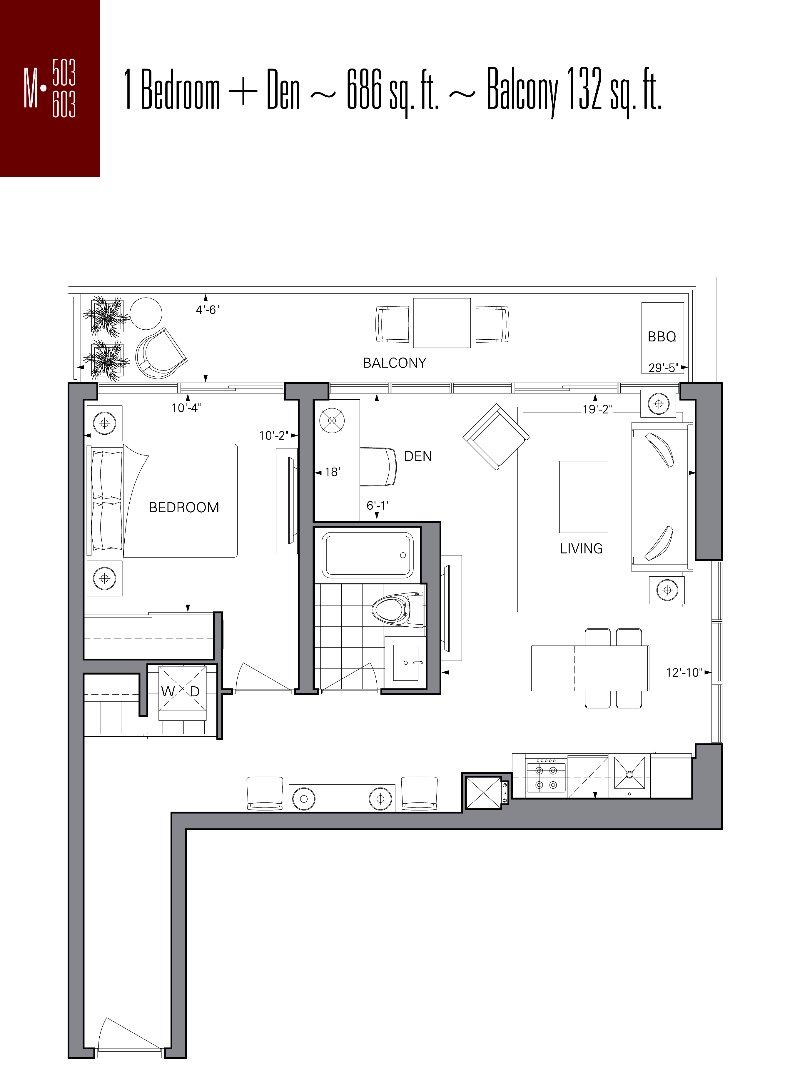 RISE CONDOS - FLOORPLANS ONE BED 686 SQ FT - CONTACT YOSSI KAPLAN