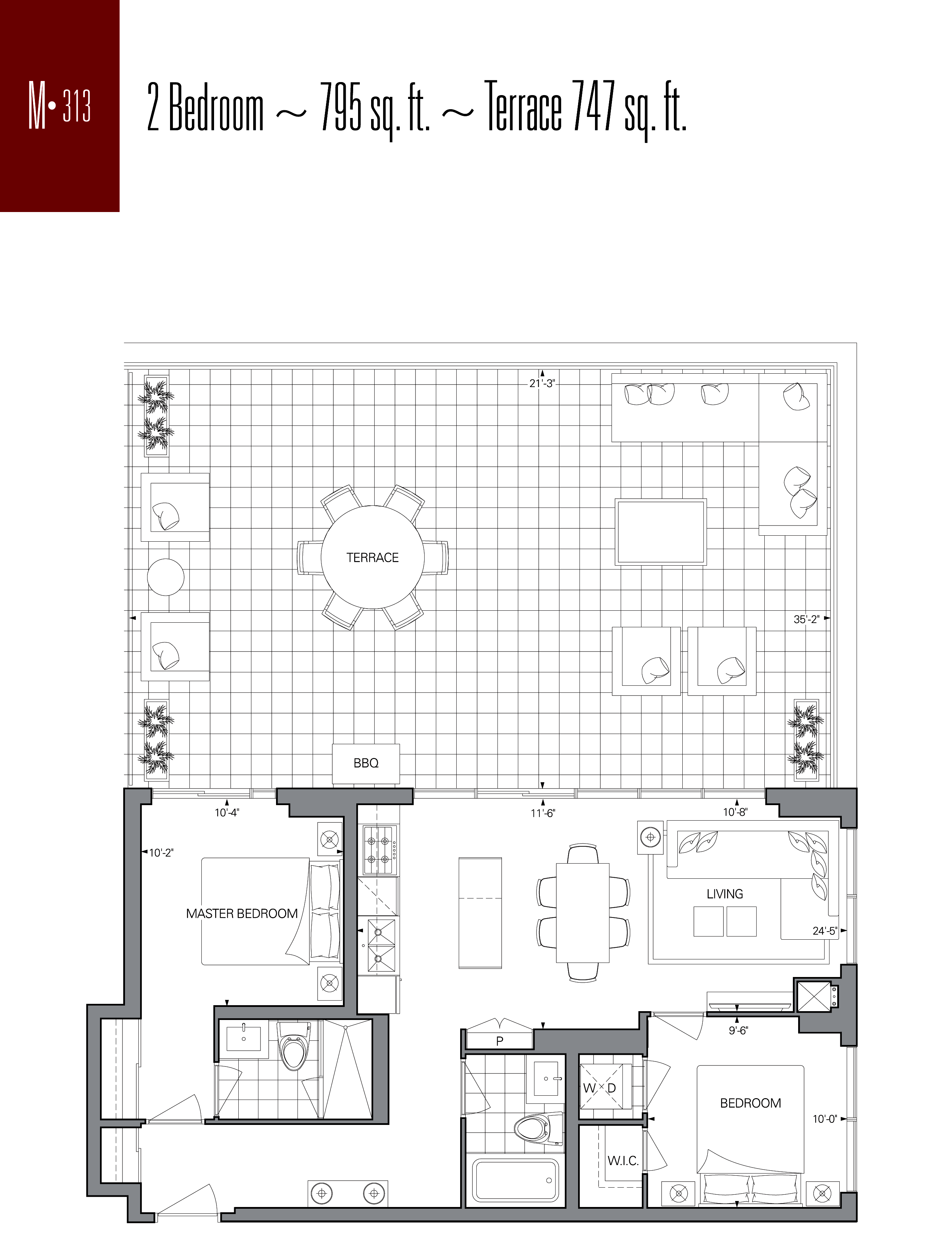 RISE CONDOS - FLOORPLANS TWO BED TERRACE 747 SQ FT - CONTACT YOSSI KAPLAN