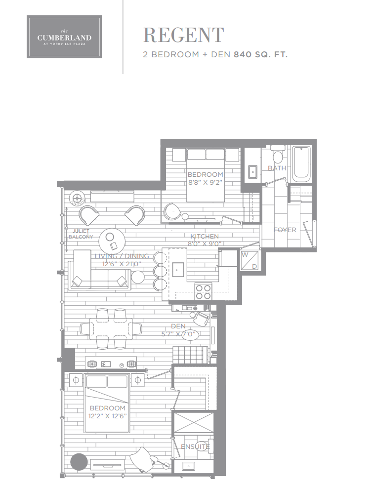 THE CUMBERLAND TOWER - FLOORPLANS - TWO BEDROOM 840 SQ FT