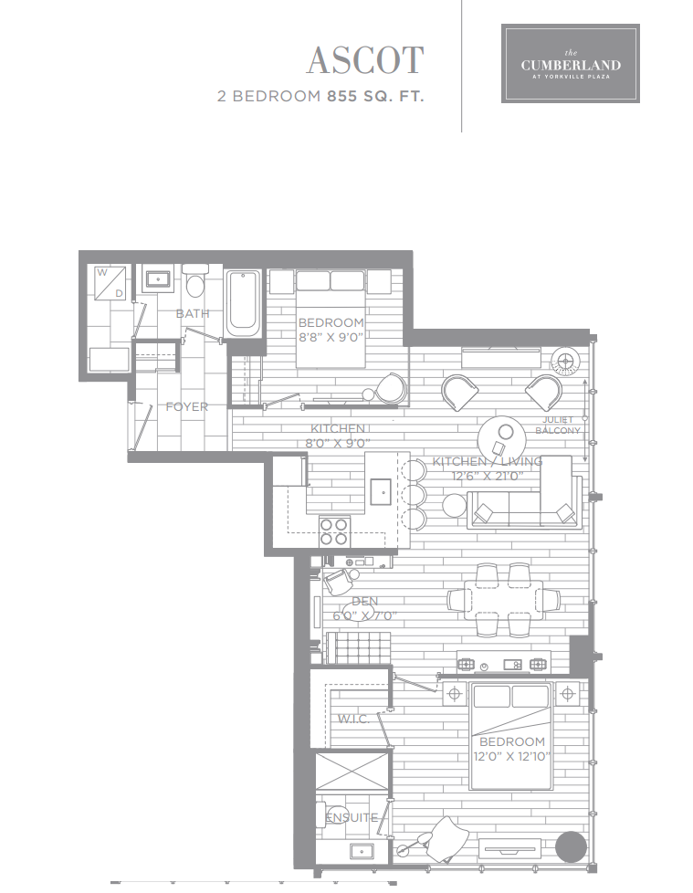THE CUMBERLAND TOWER - FLOORPLANS - TWO BEDROOM 855 SQ FT