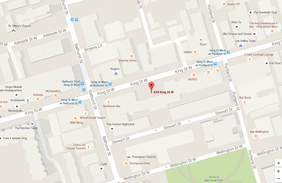 THOMPSON RESIDENCES ALMOST COMPLETE - 629 KING WEST MAP