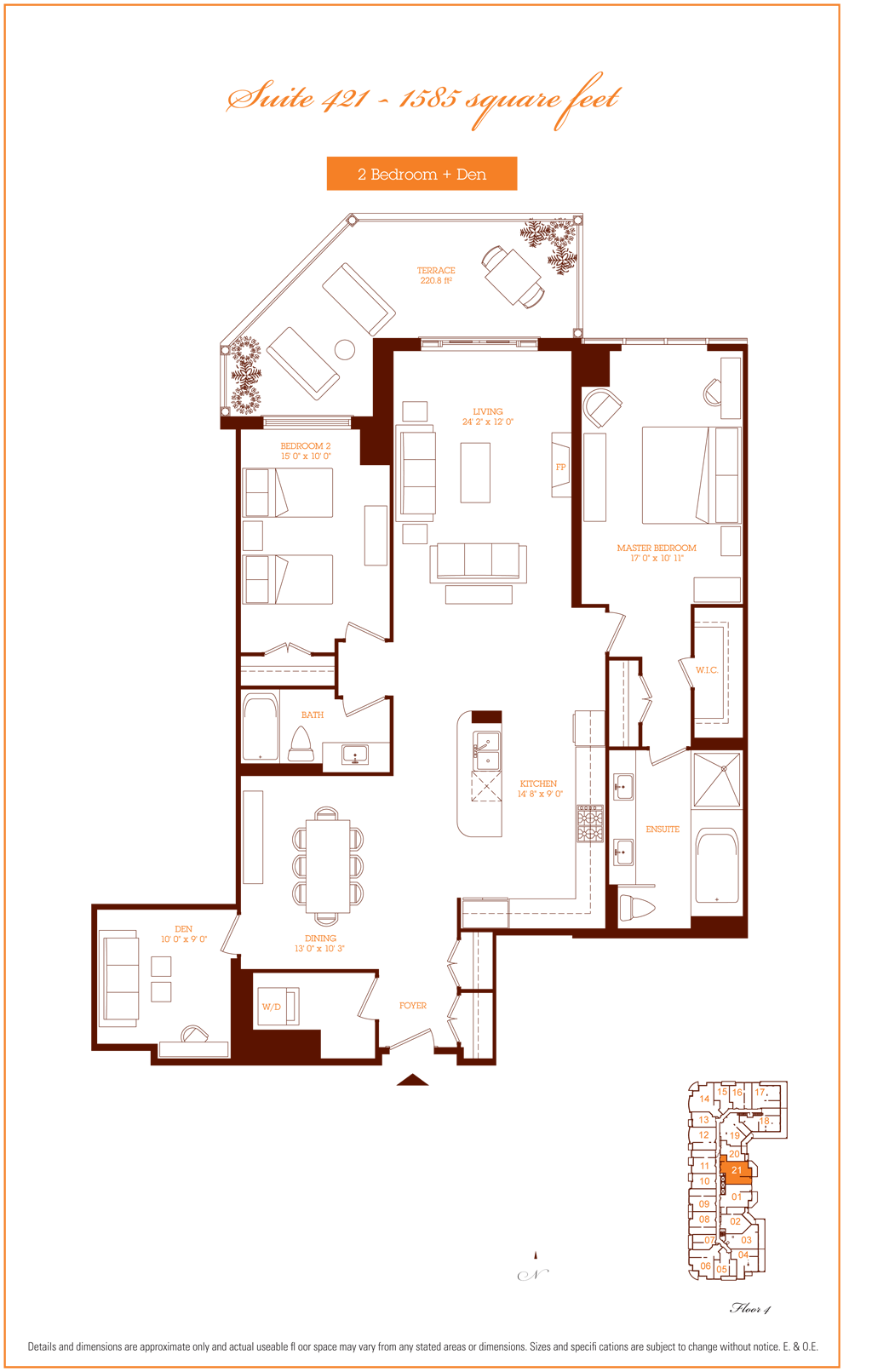 1717 AVENUE - FLOORPLANS TWO BED 1585 SQ FT - CONTACT YOSSI KAPLAN