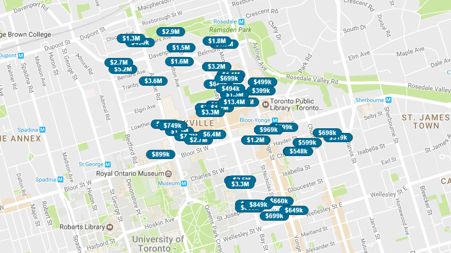 SAVED MAP SEARCH AREA - YORKVILLE CONDOS