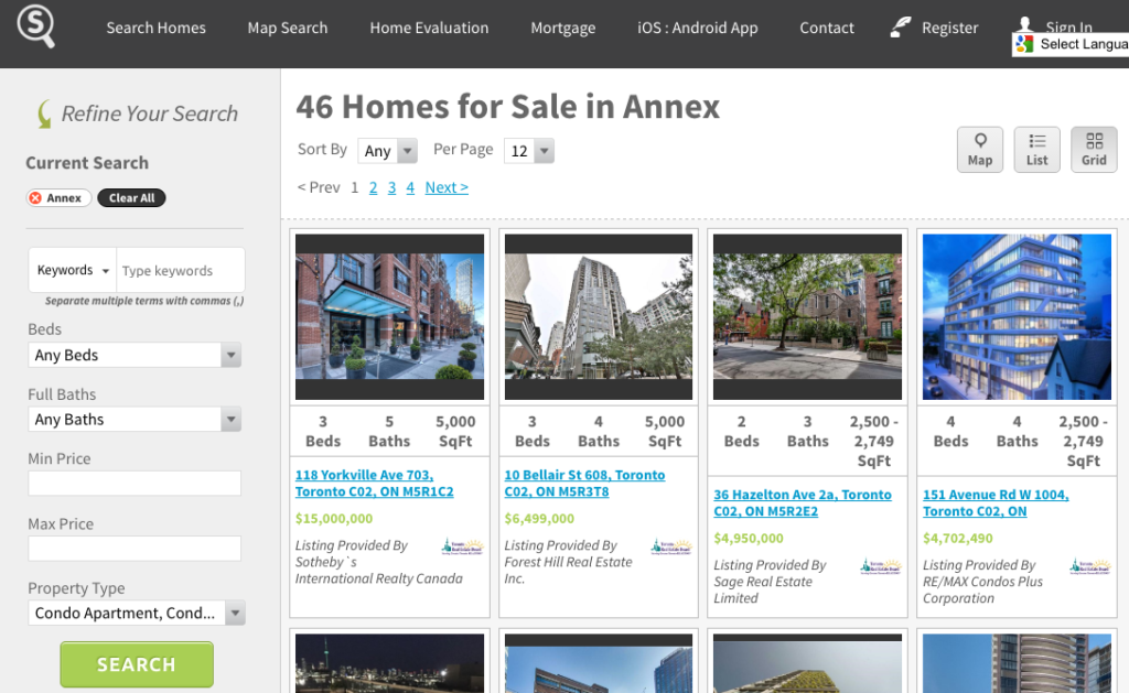 ANNEX CONDOS FOR SALE - SAVED MAP SCREENSHOT