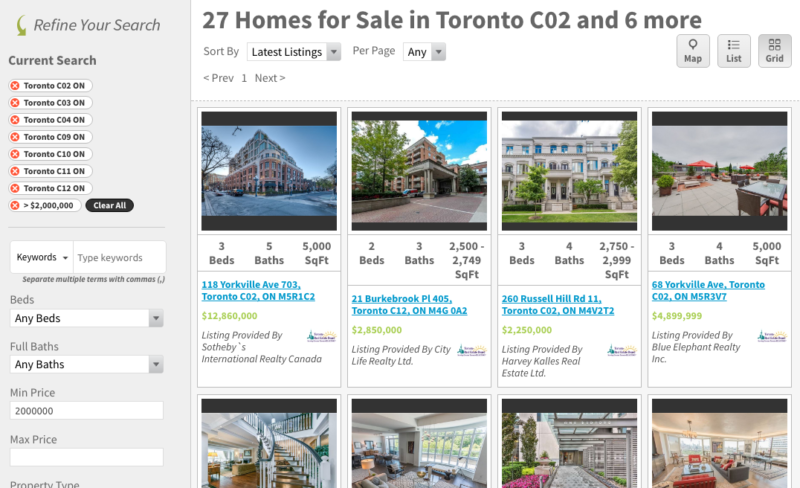 MOST EXPENSIVE CONDOS FOR SALE - TORONTO SAVED MAP SEARCH AREA