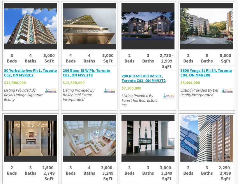 Toronto Luxury Penthouses for Sale - Saved Search - Million and Up